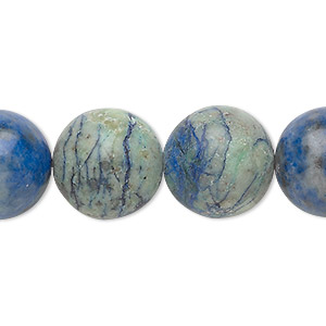 bead, chrysocolla (stabilized), 16mm round, b grade, mohs hardness 2 to 4. sold per 8-inch strand, approximately 10 beads.