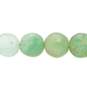 bead, chrysoprase (natural), 11-13mm hand-cut puffed flat round, c- grade, mohs hardness 6-1/2 to 7. sold per 7-inch strand.