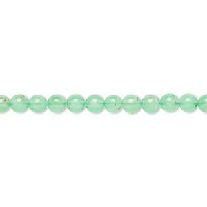 bead, chrysoprase (natural), 4mm round, b- grade, mohs hardness 6-1/2 to 7. sold per 15-inch strand.