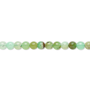 bead, chrysoprase (natural), 4mm round, c grade, mohs hardness 6-1/2 to 7. sold per 8-inch strand, approximately 50 beads.
