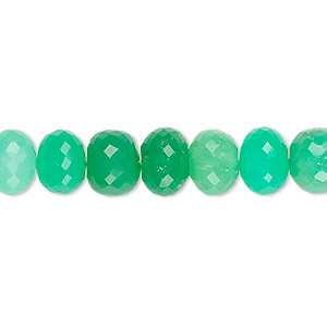 bead, chrysoprase (natural), 6x3mm-9x6mm graduated hand-cut faceted rondelle with 0.4-1.4mm hole, b grade, mohs hardness 6-1/2 to 7. sold per 6-1/2 inch strand, approximately 30 beads.