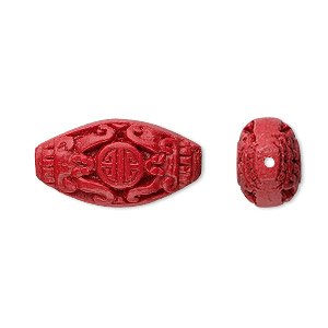 bead, cinnabar (imitation), red, 26x14mm carved oval. sold per pkg of 4.