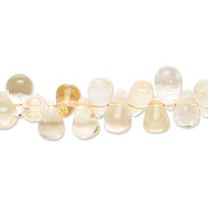 bead, citrine and quartz crystal (natural / dyed / heated), 7x5mm-13x7mm hand-cut top-drilled teardrop, c grade, mohs hardness 7. sold per 14-inch strand.