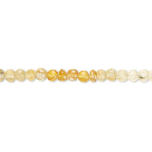 bead, citrine and quartz crystal (natural / heated), shaded, 3-4mm hand-cut faceted round, b grade, mohs hardness 7. sold per 8-inch strand.