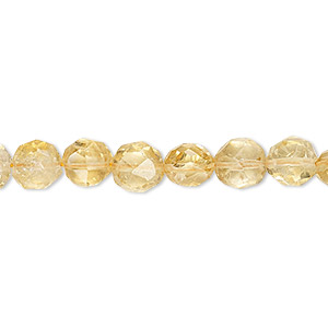 bead, citrine (dyed / heated), 7mm hand-cut faceted puffed round, c grade, mohs hardness 7. sold per 16-inch strand.