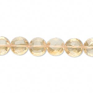 bead, citrine (dyed / heated), 8x5mm hand-cut faceted puffed round, b grade, mohs hardness 7. sold per pkg of 10.