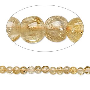 bead, citrine (heated), 3-5mm hand-cut round, c+ grade, mohs hardness 7. sold per 14-inch strand.