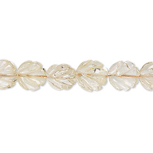 bead, citrine (heated), light, 9x9mm-10x10mm hand-cut carved leaf, c grade, mohs hardness 7. sold per 14-inch strand.