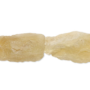 bead, citrine (heated), medium hand-cut rough nugget, mohs hardness 7. sold per 16-inch strand.
