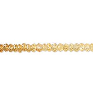 bead, citrine (heated), shaded, 3x2mm-4x3mm hand-cut faceted rondelle, b grade, mohs hardness 7. sold per 16-inch strand.