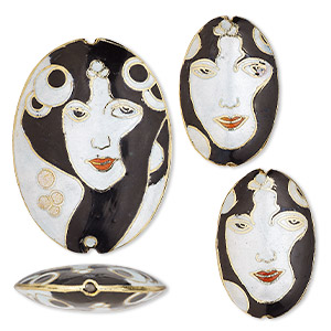 bead, cloisonne, enamel and gold-finished copper, black and white, 34x23mm and 49x34mm puffed oval with art deco lady design. sold per 3-piece set.