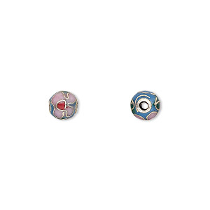 bead, cloisonne, enamel and gold-finished copper, blue / pink / red, 6mm round with flower design. sold per pkg of 10.