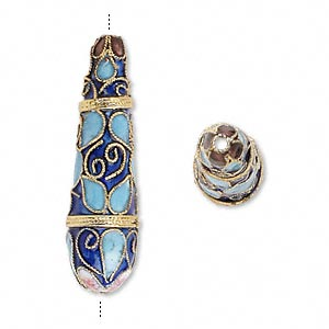 bead, cloisonne, enamel and gold-finished copper, blue and multicolored, 42x12mm teardrop with swirls and teardrops design. sold per pkg of 2.
