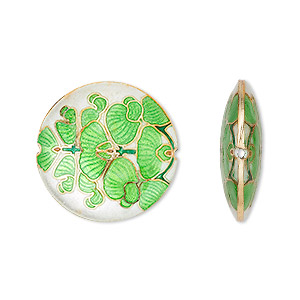 bead, cloisonne, enamel and gold-finished copper, green and white, (2) 24mm and (1) 38mm puffed flat round with leaf design. sold per 3-piece set.