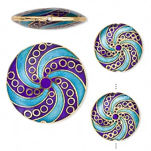 bead, cloisonne, enamel and gold-finished copper, light blue and dark blue, (2) 24mm and (1) 40mm puffed flat round with swirl design. sold per 3-piece set.