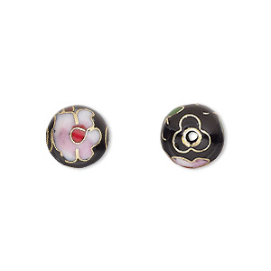 bead, cloisonne, enamel and gold-finished copper, multicolored, 10mm round with flower design. sold per pkg of 10.