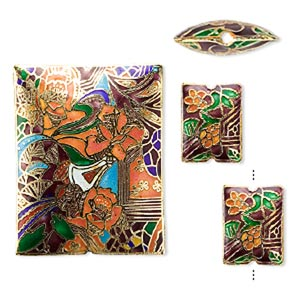 bead, cloisonne, enamel and gold-finished copper, multicolored, 19x14mm and 45x35mm puffed rectangle with flower / leaves / lines design. sold per 3-piece set.