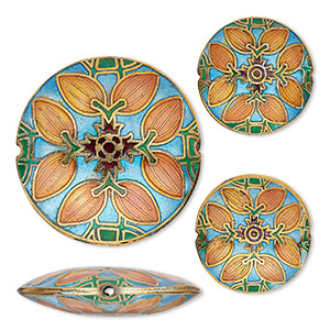 bead, cloisonne, enamel and gold-finished copper, multicolored, (2) 24mm and (1) 38mm puffed flat round with leaf design. sold per 3-piece set.