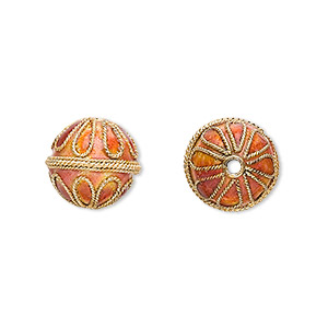 bead, cloisonne, enamel and gold-finished copper, orange, 12mm round with teardrop design. sold per pkg of 6.