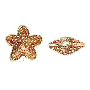 bead, cloisonne, enamel and gold-finished copper, rust, 17x17mm starfish. sold per pkg of 4.