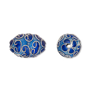 bead, cloisonne, enamel and silver-plated copper, blue and dark blue, 17x12mm oval. sold per pkg of 4.