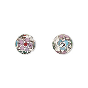 bead, cloisonne, enamel and silver-plated copper, multicolored, 10mm round. sold per pkg of 10.