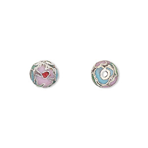 bead, cloisonne, enamel and silver-plated copper, multicolored, 8mm round. sold per pkg of 10.