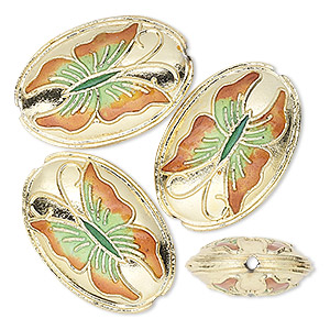 bead, cloisonne, gold-finished brass and enamel, orange/yellow/green, 24x16x7mm oval with butterfly. sold per pkg of 4.