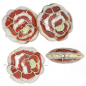 bead, cloisonne, gold-finished brass and enamel, rose/gold/green, 19x9mm round with rose. sold per pkg of 4.
