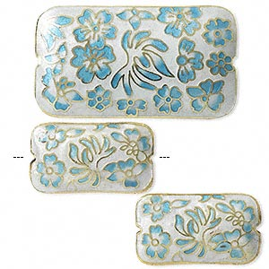 bead, cloisonne, light blue/white/gold, (1) 46x25mm and (2) 28x16mm double-sided rectangles. sold per 3-piece set.