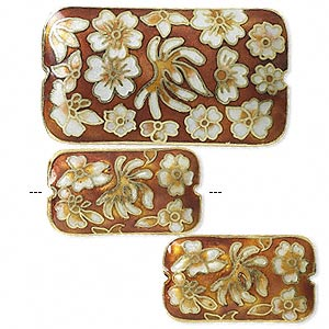 bead, cloisonne, orange/white/gold, (1) 46x25mm and (2) 28x16mm double-sided rectangles. sold per 3-piece set.