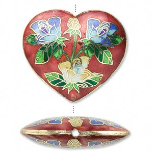 bead, cloisonne, red and cobalt blue, 40x36mm heart. sold individually.