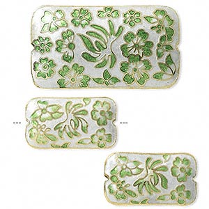 bead, cloisonne, white/green/gold, (1) 46x25mm and (2) 28x16mm double-sided rectangles. sold per 3-piece set.