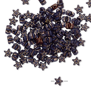 bead, coated acrylic, black and gold, 5x4.5mm star. sold per pkg of 100.