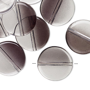 bead, coated acrylic, two-tone transparent clear and black, 17mm flat round. sold per pkg of 20.