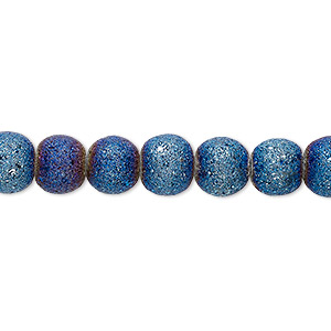bead, coated glass, opaque matte dark blue ab, 7-8mm uneven round. sold per 16-inch strand.