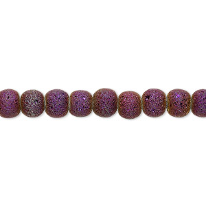 bead, coated glass, opaque matte purple ab, 5-6mm uneven round. sold per 16-inch strand.