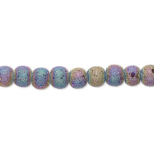 bead, coated glass, opaque matte rainbow, 5-6mm uneven round. sold per 16-inch strand.