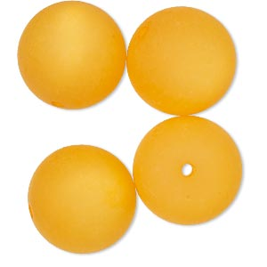 bead, cool frost resin beads™, resin, frosted matte light orange, 18mm round. sold per pkg of 4.