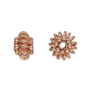 bead, copper, 14x9mm beaded rondelle with open spiral edge. sold per pkg of 4.