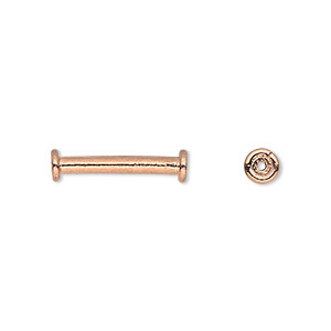 bead, copper, 18x5mm round tube with rimmed ends. sold per pkg of 12.