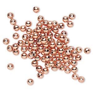 bead, copper, 3mm round with 0.7mm hole. sold per pkg of 1,000.