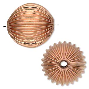 bead, copper, 40mm corrugated round with 5.5-7.5mm hole. sold individually.