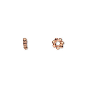 bead, copper, 6x2mm beaded rondelle. sold per pkg of 50.
