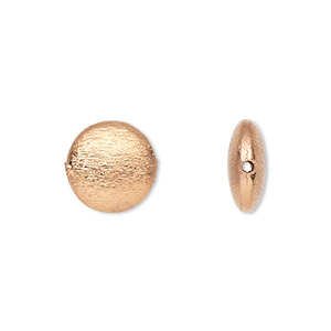 bead, copper-plated copper, 12mm brushed puffed flat round with 0.9mm hole. sold per pkg of 6.