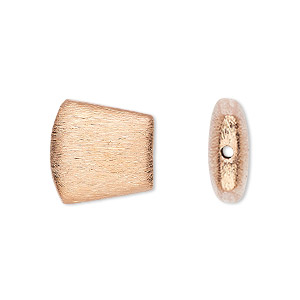 bead, copper-plated copper, 16x14mm brushed trapezoid. sold per pkg of 6.