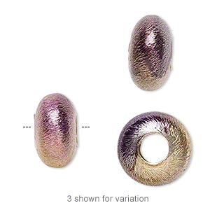 bead, copper, purple with iridescent finish, 12x7mm brushed rondelle with 4.5mm hole. sold per pkg of 4.