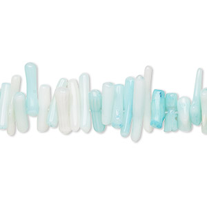bead, coral (dyed), light blue, 7x1mm-18x3mm cupolini, mohs hardness 3-1/2 to 4. sold per 16-inch strand.