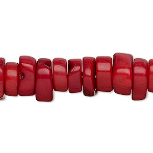 bead, coral (dyed), red, 10x5mm hand-cut heishi, mohs hardness 3-1/2 to 4. sold per 16-inch strand.