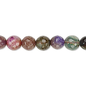 bead, crackle agate / striped agate / malaysia jade (dyed / heated), multicolored, 8-9mm faceted round, b grade, mohs hardness 6-1/2 to 7. sold per 15-inch strand.
